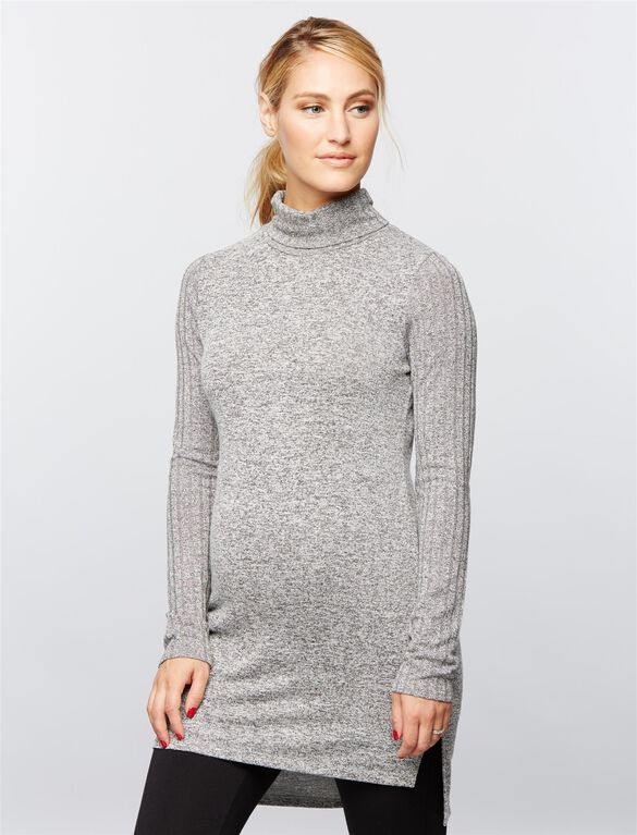 Rib Knit Maternity Tunic, Grey