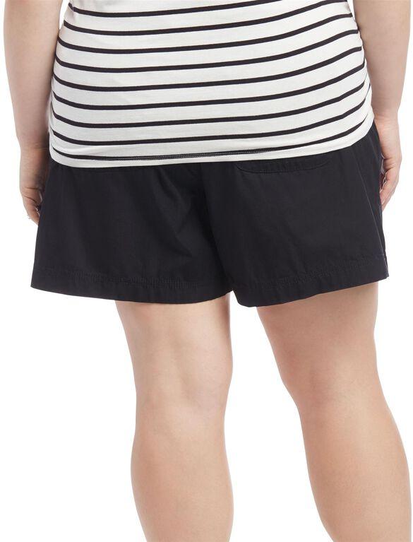 Plus Size Secret Fit Belly Roll Hem Maternity Shorts, Black