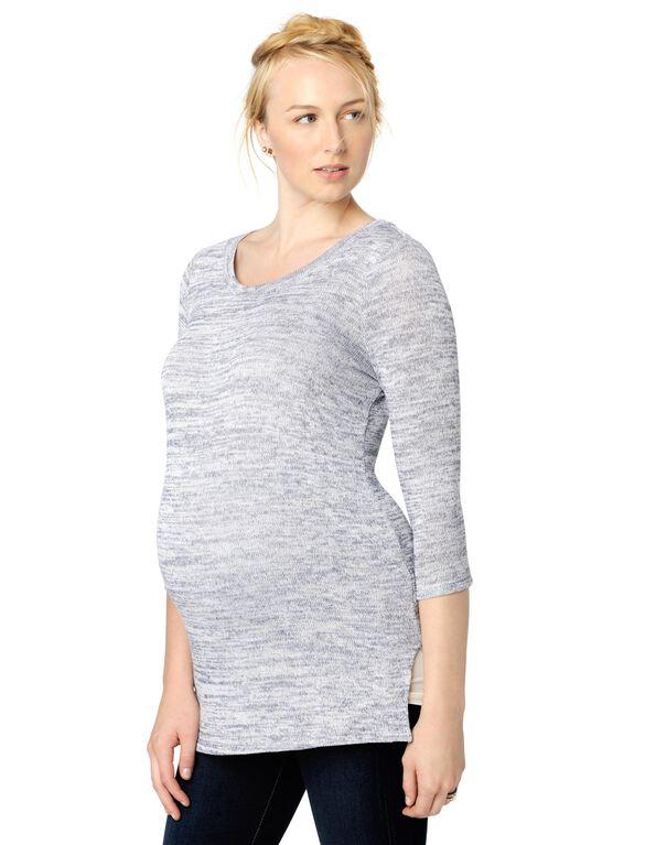 High-low Hem Maternity Sweater, Blue/White Marl