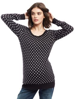 Dot Maternity Sweater, Black/White
