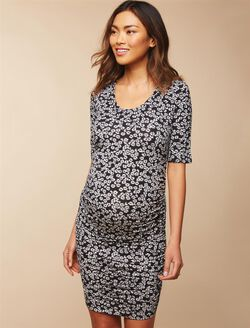 Side Ruched Maternity Dress- Ditsy, Black/White Ditsy Print