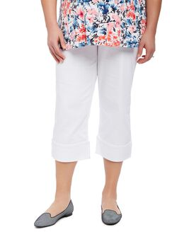 Plus Size Secret Fit Belly Skinny Leg Maternity Crop Pants, White