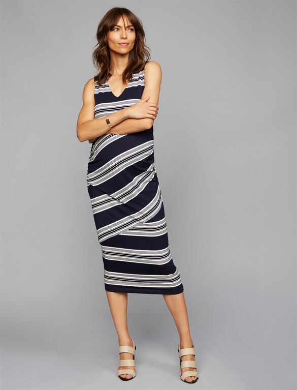 Side Ruched Maternity Dress, Navy Stripe
