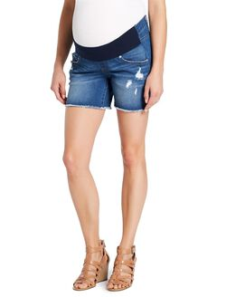 Jessica Simpson Under Belly Fray Hem Maternity Shorts, Dark