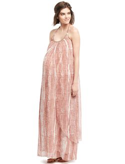 Wendy Bellissimo Beaded Detail Maternity Dress, Tan Tie Dye
