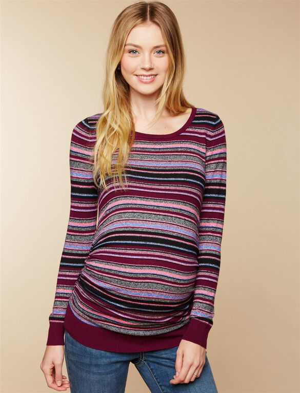 Side Ruched Maternity Sweater, Burgundy Stripe