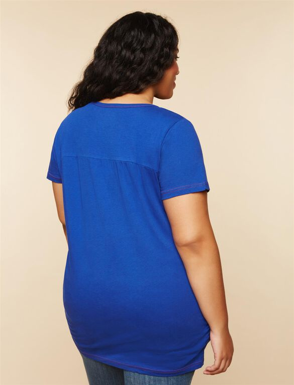 Plus Size Ruched Maternity T Shirt, Blue Giants