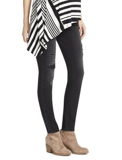 Jessica Simpson Secret Fit Belly Destructed Maternity Jeggings, Black