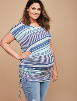 Jessica Simpson Plus Size Crochet Detail Maternity Tunic, Blue Stripe