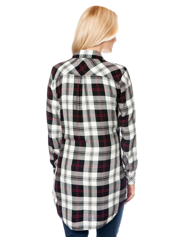 Rails Tie Detail Maternity Shirt, Multi Plaid