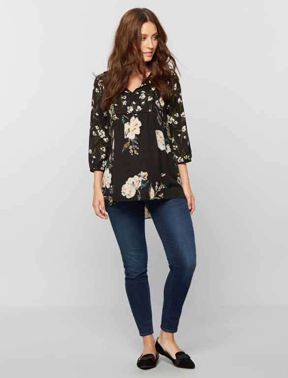 Mix Floral Print Maternity Blouse, Black Floral