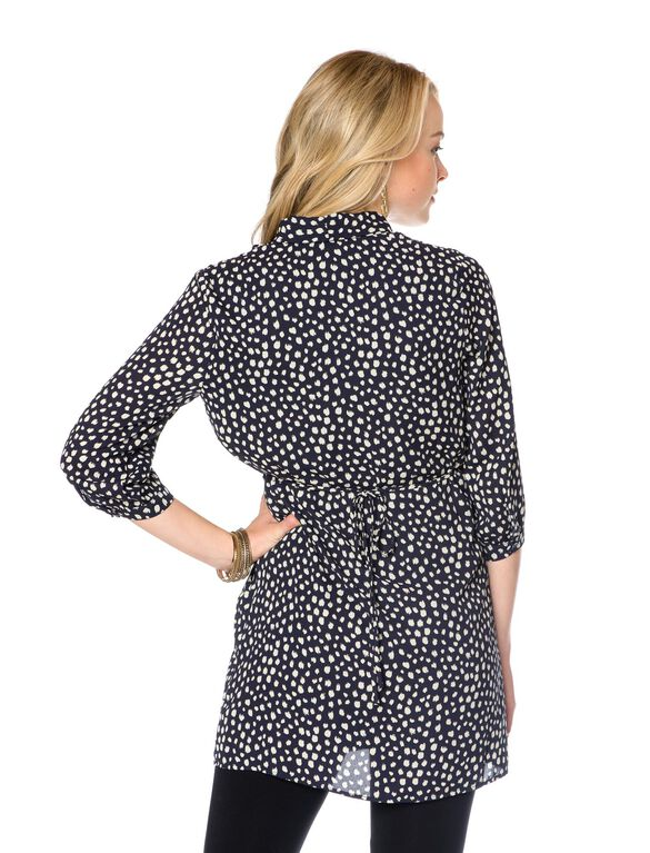 Drawstring Maternity Tunic, Navy/White Spot