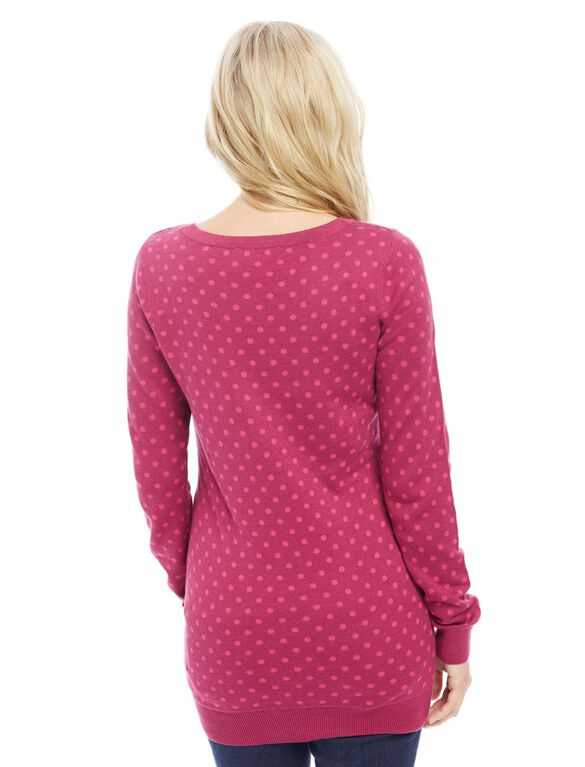 Dot Maternity Sweater, Raspberry/Pink