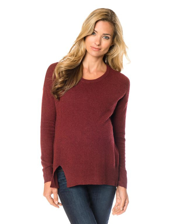 Relaxed Fit Maternity Sweater, Brick