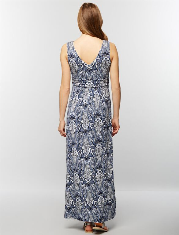 Sleeveless Ruched Waist Maternity Maxi Dress- Navy Paisley, Navy Paisley