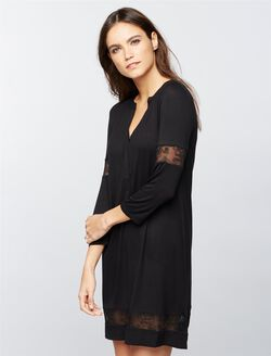 Lace Maternity Nightgown, Black