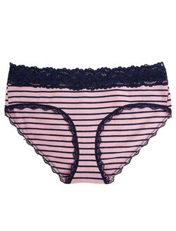 Jessica Simpson Lace Maternity Hipster Panties (single), Plum Navy Stripe