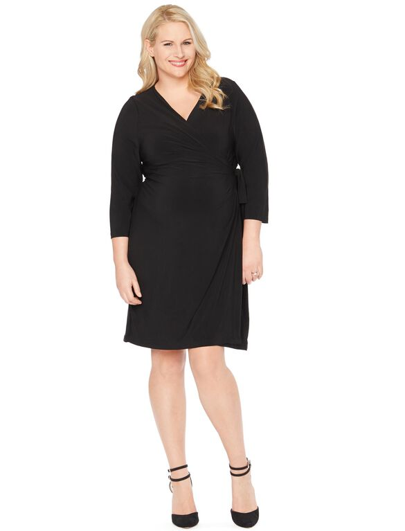 Plus Size Fit And Flare Maternity Dress, Black