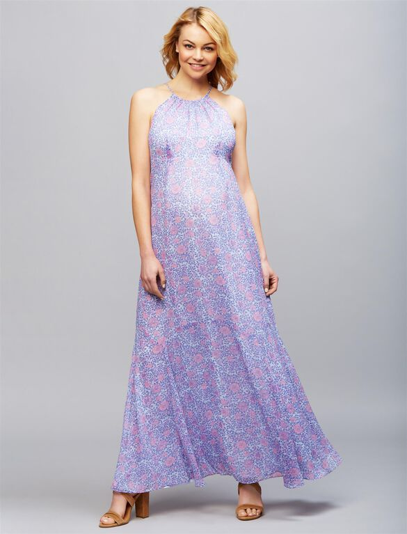 Floral Print Maternity Maxi Dress, Lilac Floral