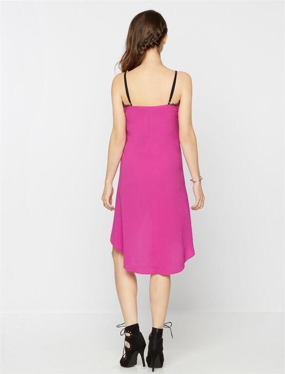 BCBGMAXAZRIA Lace Trim Maternity Dress, Magenta