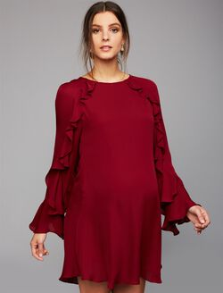 Nicole Miller Ruffled Bell Sleeve Maternity Dress, Oxblood