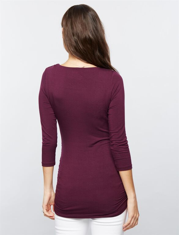 Scoop Neck Side Ruched Knit Maternity Tee, Purple