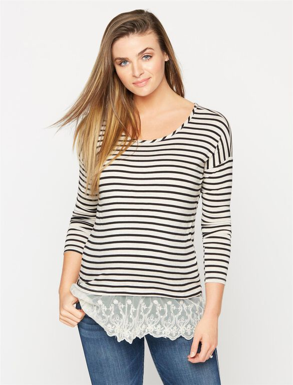 Lace Trim High-low Maternity Tee, Oat/Black