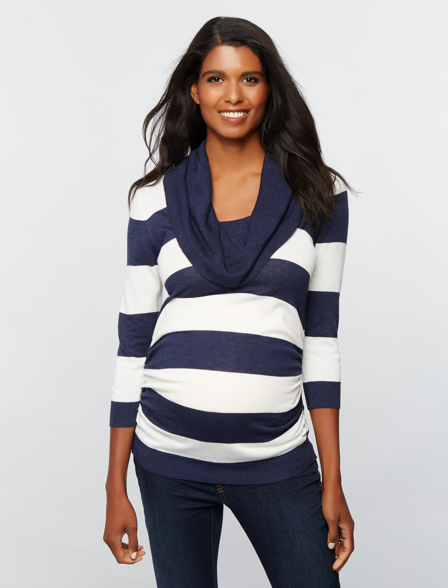 Striped Cowl Maternity Sweater