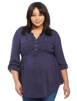 Plus Size Convertible Sleeve Maternity Tunic- Dot Print, Navy/Egret Dot Print