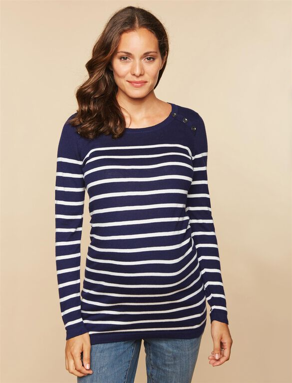 Button Detail Maternity Sweater, Navy White Stripe