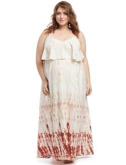 Plus Size Tiered Maternity Maxi Dress, Tye Dye
