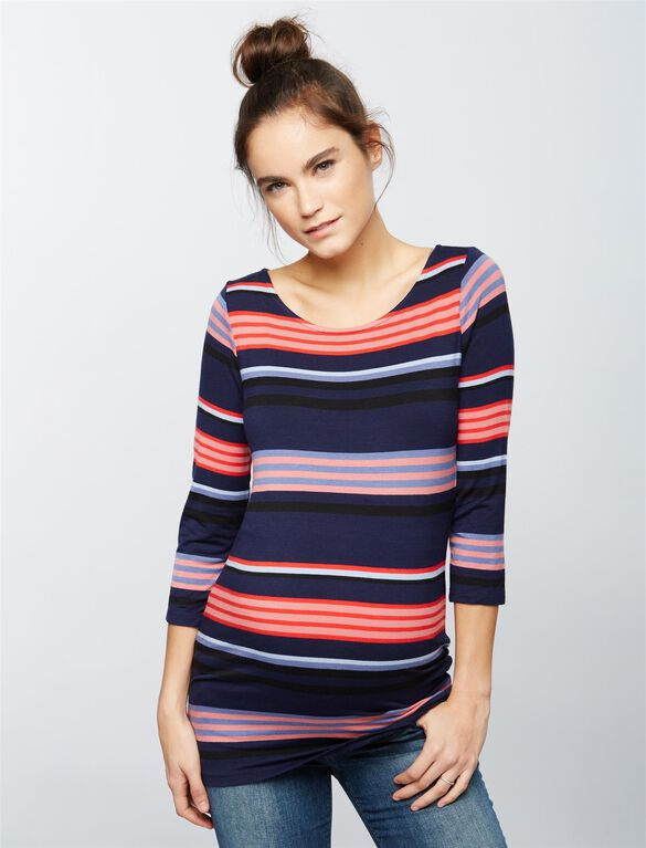 Striped Boat Neck Maternity Tee, Navy/Pink Stripe