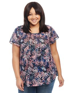 Plus Size Pleated Maternity Blouse, Floral Print