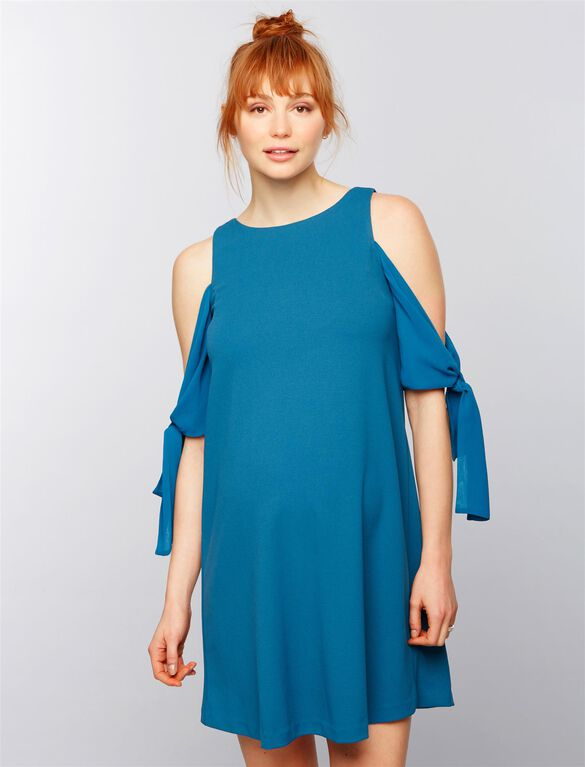 Taylor Cold Shoulder Maternity Dress, Blue