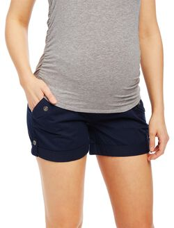 Secret Fit Belly Roll Hem Maternity Cargo Shorts, Navy