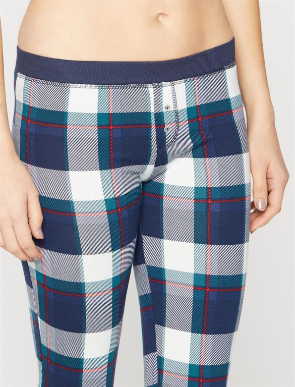 Splendid Cozy 2 Piece Plaid Maternity Pajama Set, Navy Plaid