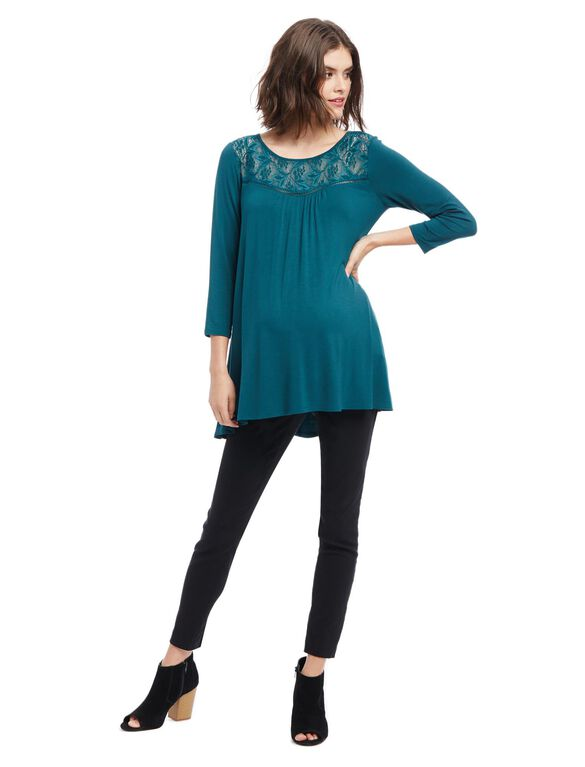 Lace Detail Maternity Tunic, Deep Teal