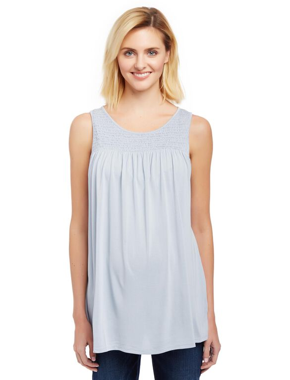 Keyhole Detail Maternity Tank Top, Blue