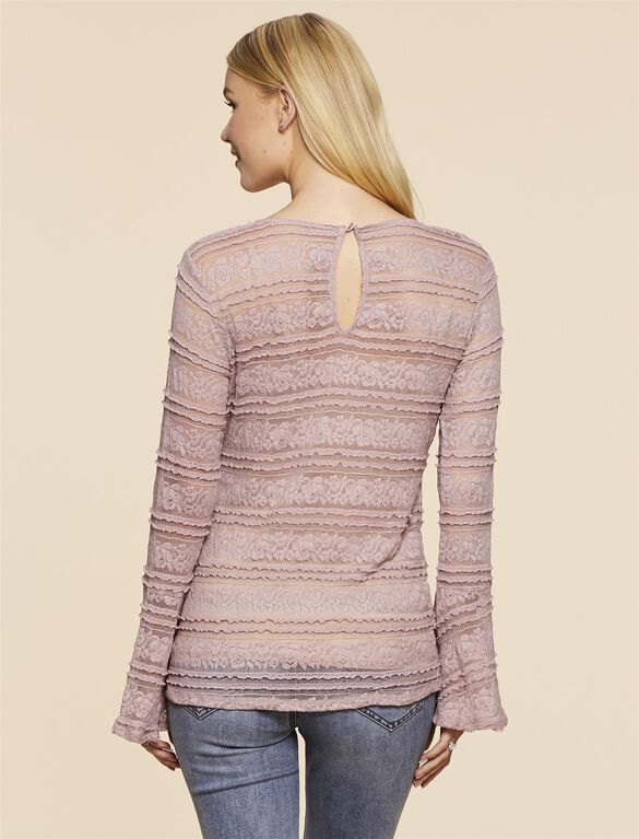 Jessica Simpson Lace Bell Sleeve Maternity Top, Lavender