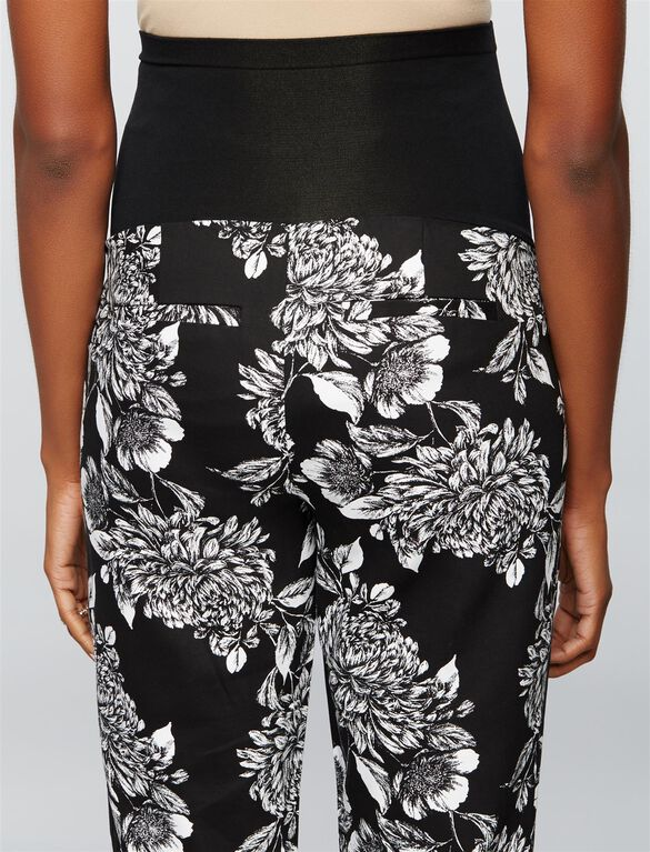 Secret Fit Belly Floral Sateen Straight Leg Maternity Pants, Blk/Wht Floral