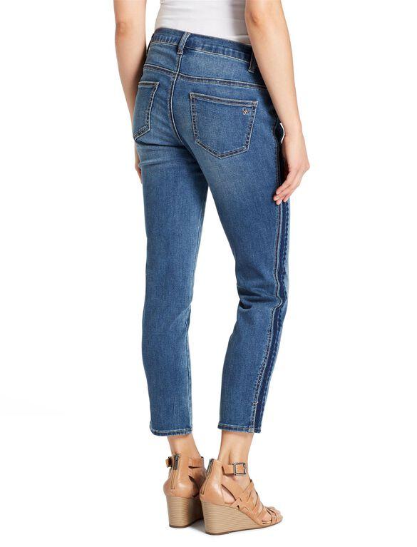 Jessica Simpson Side Panel Straight Leg Maternity Crop Jeans, Medium Wash