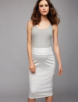 Ripe Fold Over Belly Pencil Fit Maternity Skirt, Stripe