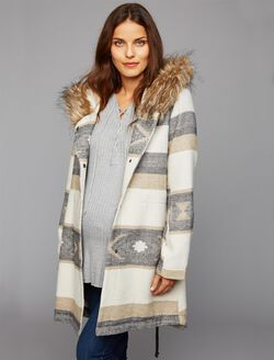 BB Dakota Faux Fur Trim Maternity Jacket, Oatmeal