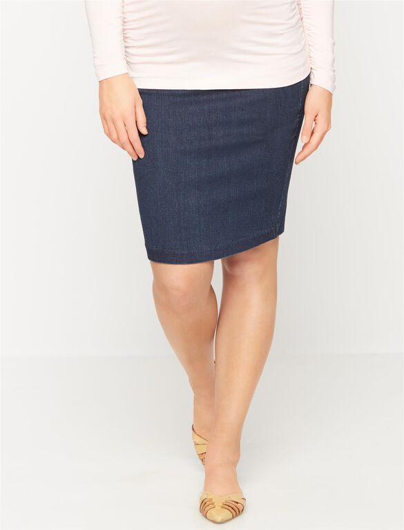 Luxe Essentials Denim Secret Fit Belly Pencil Fit Maternity Skirt, Rinse Wash
