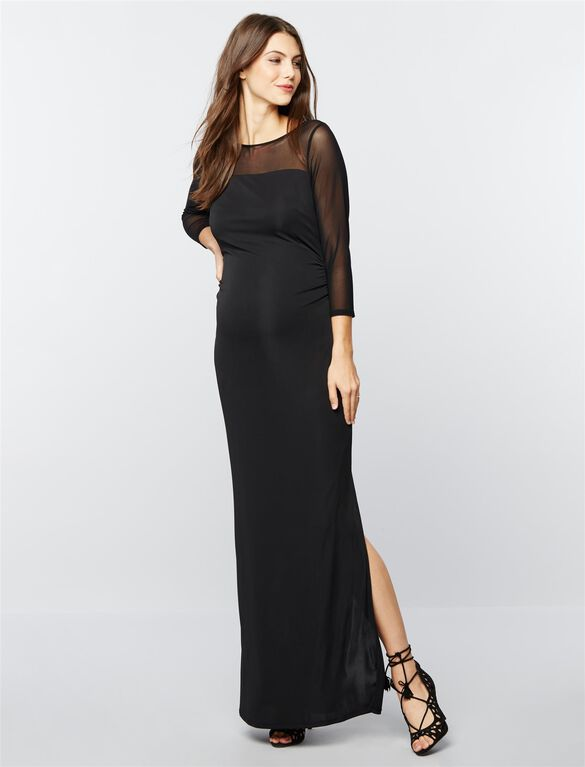 Shirring Detail Maternity Gown, Black