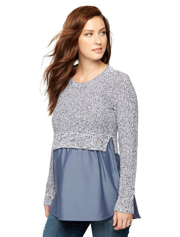 High-low Hem Maternity Sweater, Blue/Grey