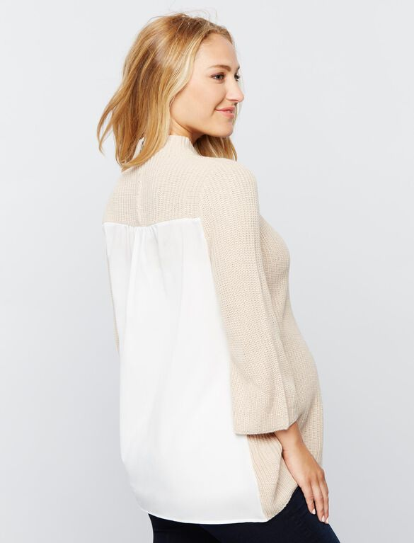 Design History Knit Woven Maternity Sweater, Oat