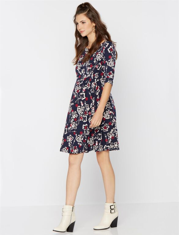 Pleated Maternity Dress, Floral Print