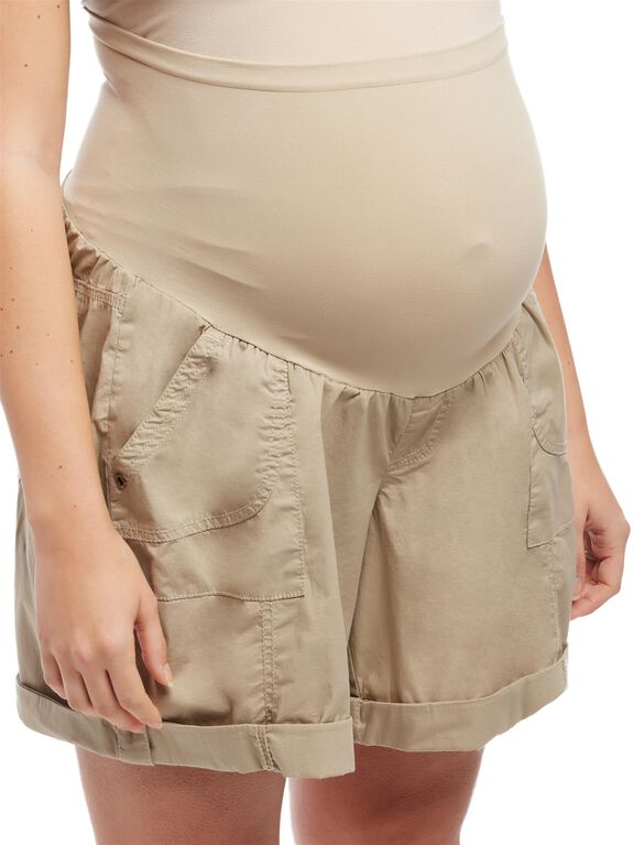 Plus Size Secret Fit Belly Poplin Maternity Shorts, Khaki