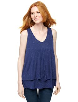 Pull Over Hanky Hem Nursing Tank, Navy